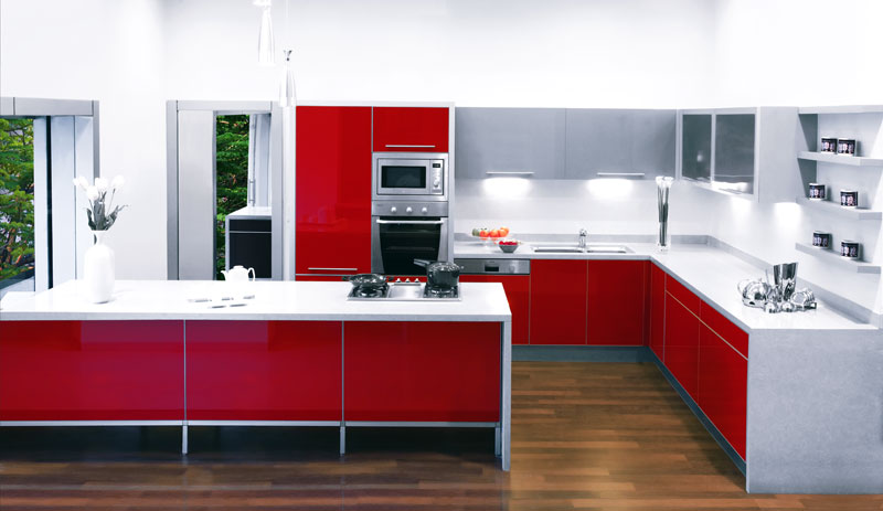 Sleek Senso Red Kitchen Design